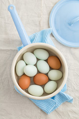Eggs in a strainer