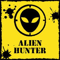 Vector alien hunter logo on red yellow