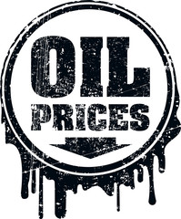 Oil prices grunge design with down arrow showing a decline in oi