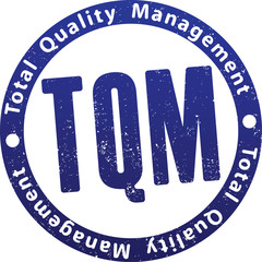 TQM (total quality management) rubber stamp.