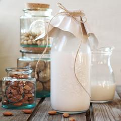 Nut milk in a bottle