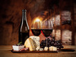 Various kind of cheese with wine - 79094145