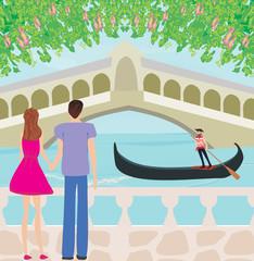 romantic couple in Venice