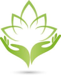 Logo, Zwei Hände, Blätter, Heilpraktiker