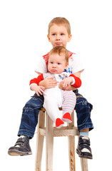 Two brothers sitting on a stool in studio