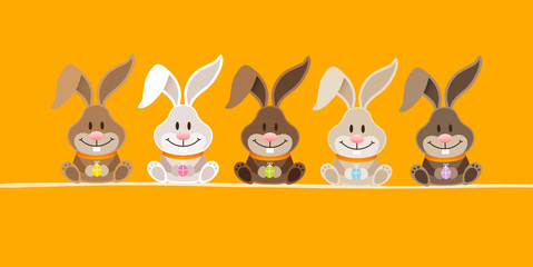 5 Cute Rabbits Orange