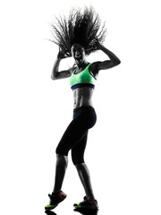 woman zumba dancer dancing exercises silhouette
