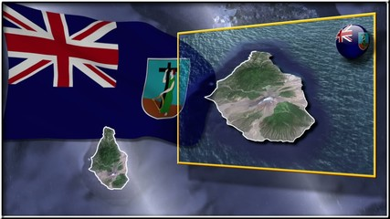 Montserrat flag and map animation