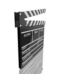 Clapper board on white background