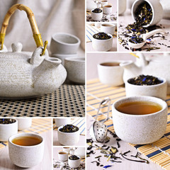 Collage of photos with black tea © zia_shusha