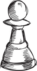 Doodle Sketch Chess Pawn Vector Illustration Art
