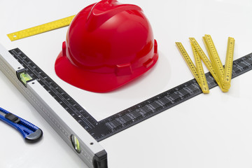 Helmet and tools for construction drawings and buildings