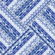 Blue geometric tribal ornaments pattern
