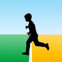 Boy crossing the finish line, concept illustration for new begin
