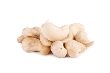 Cashew nuts isolated on white background.