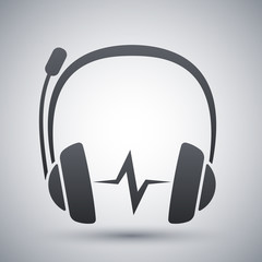 Vector headphones with microphone and sound wave icon