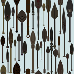 Wooden old paddles seamless background