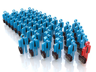 Group of people and leader. Leadership concept