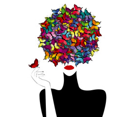Stylized woman wiith colored butterflies on her head