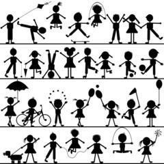 Stylized hand drawn children playing