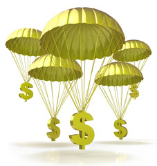 Golden parachutes. Dollar signs parachuting down from the sky
