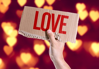 Love card with heart bokeh background