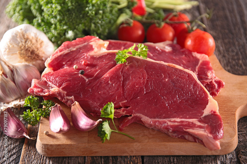 canvas print picture raw sirloin beef
