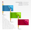 Infographic vector template with paper frames and pencil