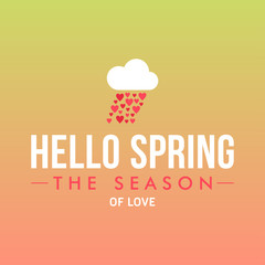 Vector illustration with template text hello spring