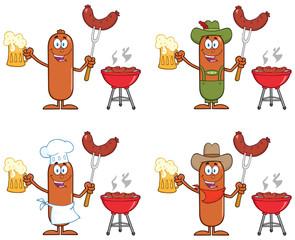 Sausage Cartoon Mascot Character 10. Collection Set