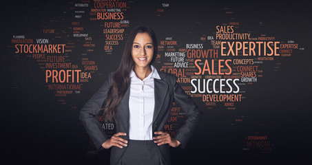 Confident Businesswoman in Front Word Tag Cloud