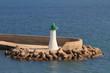 Beacon on pier. Cagliari, Sardinia