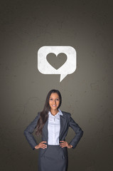 Businesswoman with Heart on Speech Bubble Above