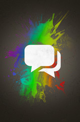 Speech Bubble on an Abstract Color Mixture