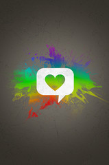Heart on Speech Bubble In front Abstract Colors