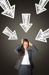 Stressed Office Woman with Arrows Pointing Her