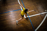 Athlete during a game of badminton