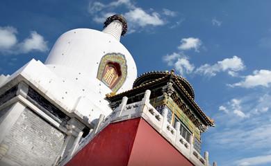 White Pagoda and sky in Beihai Park, Beijing, China