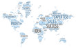Conceptual World Map in Business Word Tag Cloud