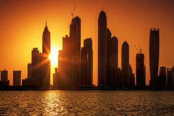 View of Dubai at sunrise