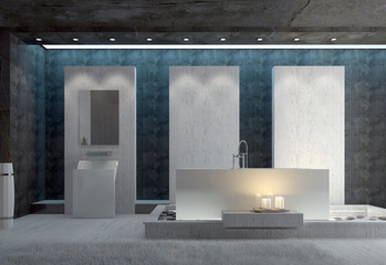 3d bathroom interior with full tub and candles