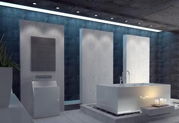 Stilvolles Badezimmer mit rechteckiger Badewanne