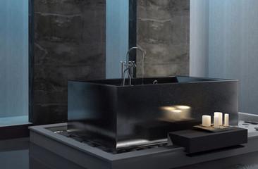 Baden in der Badewanne bei Kerzenlicht / Kerzenschein