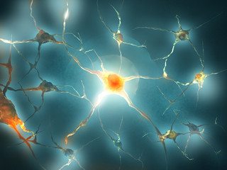 Illustration of a nerve cell on a colored background