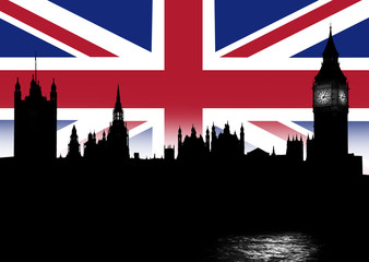 skyline London und Britische Nationalflagge