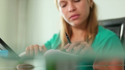 Young Woman Female Student Studying With Tablet PC