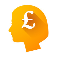 Female head icon with a pound