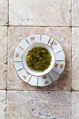 Green tea (sencha) in a vintage cup