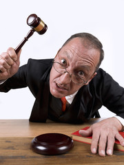 Judge furious, using his gavel