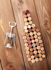 Wine bottle shaped corks and corkscrew